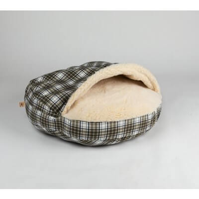 Snoozer Cozy Cave Large - Green Plaid - Poly Cotton