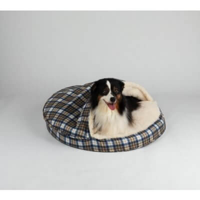 Snoozer Cozy Cave X-Large - Blue Plaid - Poly Cotton