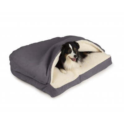 Snoozer Cozy Cave® Dog Bed - RECTANGLE - Poly Cotton-Heather Grey-Small