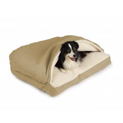 Snoozer Cozy Cave® Dog Bed - RECTANGLE - Poly Cotton-Khaki-Medium