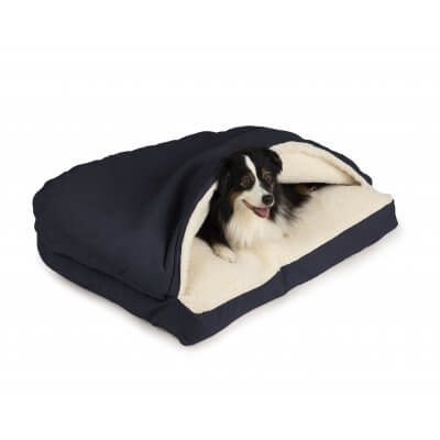 Snoozer Cozy Cave® Dog Bed - RECTANGLE - Poly Cotton-Navy-Small
