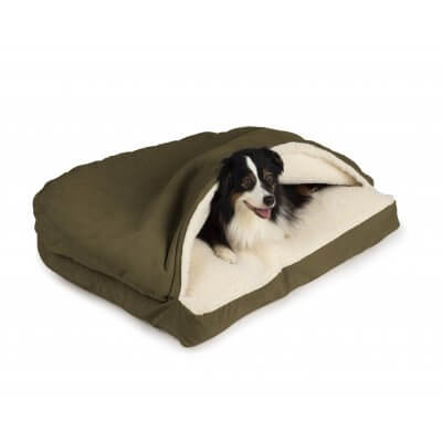 Snoozer Cozy Cave® Dog Bed - RECTANGLE - Poly Cotton-Olive Green-Large
