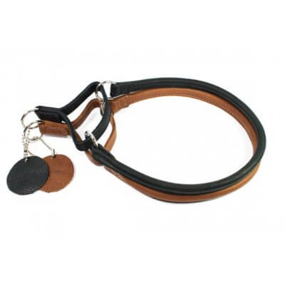 Leather Dog Collar Martingale - Collar Soft - black or brown