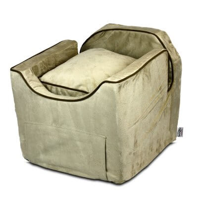 Luxury Snoozer Lookout II Pet Car Seat - Large - Buckskin (up to 15 kg) - with storage tray