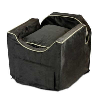 Luxury Snoozer Lookout II Pet Car Seat - Large - Dark Chocolate (up to 15 kg) - with storage tray