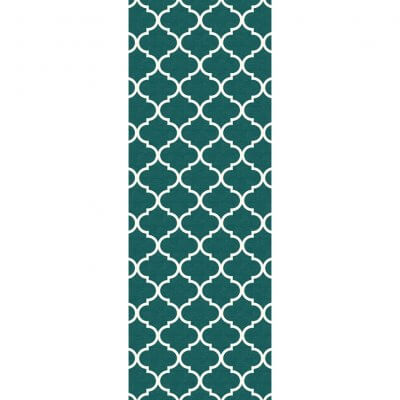 Ruggable Washable Rug - Moroccan Trellis Teal (67 cm x 210 cm)