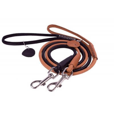 Rolled Leather Dog Leash - COLLAR SOFT - black or brown - 183 cm lenght