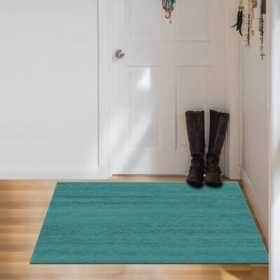 Ruggable Washable Rug - Solid Textured Ocean Blue (90 cm x 150 cm)
