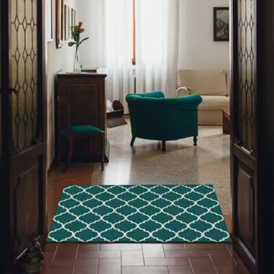 Ruggable Washable Rug - Moroccan Trellis Teal (90 cm x 150 cm)