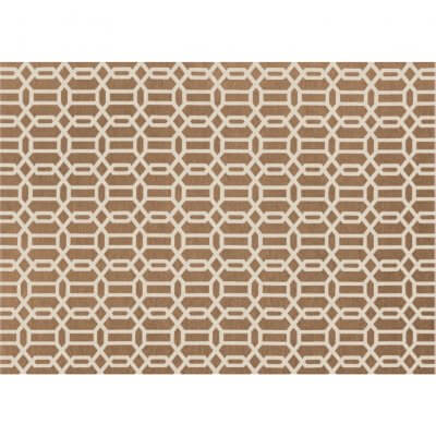 Ruggable Washable Rug - Modern Fretwork Rich Tan & White (150cm x 210 cm)