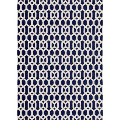 Ruggable Washable Rug - Hegaxon Fretwork Navy Blue (150cm x 210 cm)