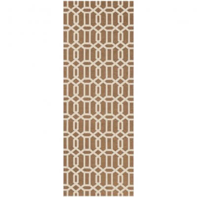 Ruggable Washable Rug - Modern Fretwork Rich Tan & White (67 cm x 210 cm)