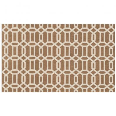 Ruggable Washable Rug- Modern Fretwork Rich Tan & White (90 cm x 150 cm)