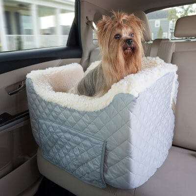 Snoozer Lookout II Pet Car Seat - Large - Grey (up to 15 kg) with storage tray