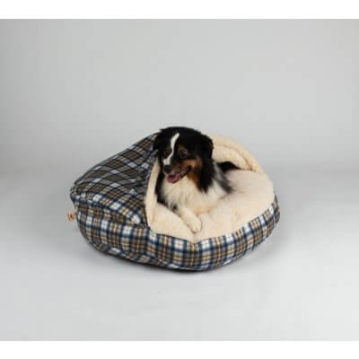 Snoozer Cozy Cave Small - Blue Plaid - Poly Cotton