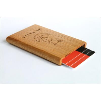 Woodlink (business)card holder with MR.TAILS logo - OAK WOOD