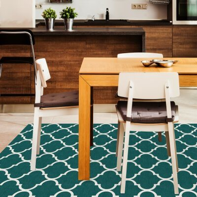 Ruggable Washable Rug - Moroccan Trellis Teal (150cm x 210 cm)